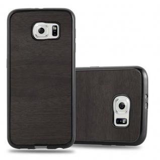Cadorabo Hülle für Samsung Galaxy S6 in WOODEN SCHWARZ ? Handyhülle aus flexiblem TPU Silikon ? Silikonhülle Schutzhülle Ultra Slim Soft Back Cover Case Bumper