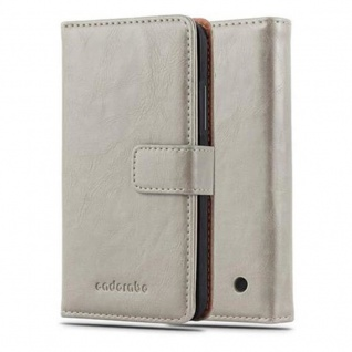 Cadorabo Hülle für Nokia Lumia 640 in CAPPUCINO BRAUN - Handyhülle mit Magnetverschluss, Standfunktion und Kartenfach - Case Cover Schutzhülle Etui Tasche Book Klapp Style