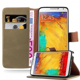 Cadorabo Hülle für Samsung Galaxy NOTE 3 in CAPPUCCINO BRAUN ? Handyhülle mit Magnetverschluss, Standfunktion und Kartenfach ? Case Cover Schutzhülle Etui Tasche Book Klapp Style
