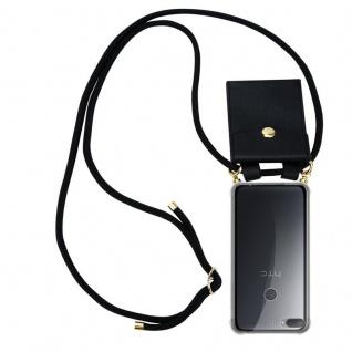 Cadorabo Handy Kette für HTC Desire 12 PLUS in SCHWARZ - Silikon Necklace Umhänge Hülle mit Gold Ringen, Kordel Band Schnur und abnehmbarem Etui ? Schutzhülle