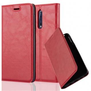 Cadorabo Hülle für Nokia 8 2017 in APFEL ROT Handyhülle mit Magnetverschluss, Standfunktion und Kartenfach Case Cover Schutzhülle Etui Tasche Book Klapp Style