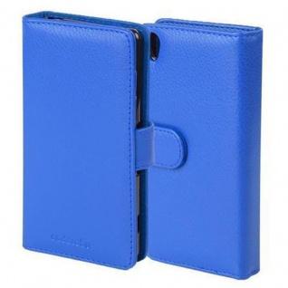 Cadorabo Hülle für Sony Xperia X in NEPTUN BLAU - Handyhülle mit Magnetverschluss und 3 Kartenfächern - Case Cover Schutzhülle Etui Tasche Book Klapp Style