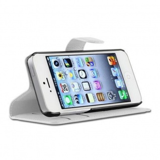 Cadorabo Hülle für Apple iPhone 5 / iPhone 5S / iPhone SE in ARKTIS WEIß - Handyhülle mit Magnetverschluss, Standfunktion und Kartenfach - Case Cover Schutzhülle Etui Tasche Book Klapp Style - Vorschau 3