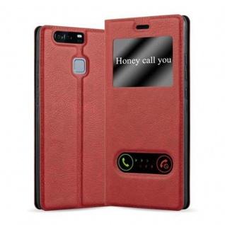 Cadorabo Hülle für Huawei P9 in SAFRAN ROT - Handyhülle mit Magnetverschluss, Standfunktion und 2 Sichtfenstern - Case Cover Schutzhülle Etui Tasche Book Klapp Style