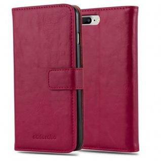 Cadorabo Hülle für Apple iPhone 8 PLUS / 7 PLUS / 7S PLUS in WEIN ROT ? Handyhülle mit Magnetverschluss, Standfunktion und Kartenfach ? Case Cover Schutzhülle Etui Tasche Book Klapp Style