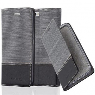 Cadorabo Hülle für Honor 6 PLUS in GRAU SCHWARZ - Handyhülle mit Magnetverschluss, Standfunktion und Kartenfach - Case Cover Schutzhülle Etui Tasche Book Klapp Style