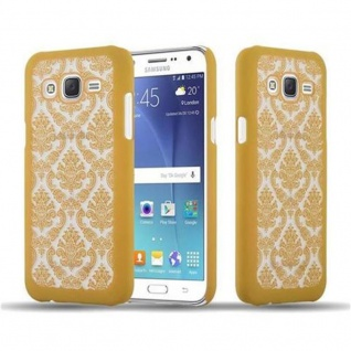Samsung Galaxy J7 2015 Hardcase Hülle in GOLD von Cadorabo - Blumen Paisley Henna Design Schutzhülle ? Handyhülle Bumper Back Case Cover
