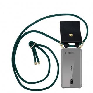 Cadorabo Handy Kette für Nokia 2.2 in ARMEE GRÜN - Silikon Necklace Umhänge Hülle mit Gold Ringen, Kordel Band Schnur und abnehmbarem Etui ? Schutzhülle