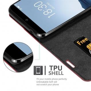 Cadorabo Hülle für MEIZU 15 in APFEL ROT - Handyhülle mit Magnetverschluss, Standfunktion und Kartenfach - Case Cover Schutzhülle Etui Tasche Book Klapp Style - Vorschau 2