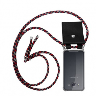 Cadorabo Handy Kette für Samsung Galaxy J5 2015 in ROT BLAU GELB - Silikon Necklace Umhänge Hülle mit Silber Ringen, Kordel Band Schnur und abnehmbarem Etui - Schutzhülle