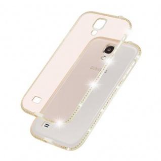 Cadorabo Hülle für Samsung Galaxy S4 - Hülle in TRANSPARENT GOLD ? Handyhülle aus TPU Silikon im Strass Design - Silikonhülle Schutzhülle Ultra Slim Soft Back Cover Case Bumper - Vorschau 4