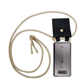 Cadorabo Handy Kette für LG V20 in GLÄNZEND BRAUN - Silikon Necklace Umhänge Hülle mit Gold Ringen, Kordel Band Schnur und abnehmbarem Etui ? Schutzhülle