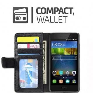 Cadorabo Hülle für Huawei P8 LITE 2015 in OXID SCHWARZ - Handyhülle mit Magnetverschluss und 3 Kartenfächern - Case Cover Schutzhülle Etui Tasche Book Klapp Style - Vorschau 5