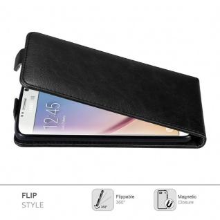 Cadorabo Hülle für Samsung Galaxy S6 in NACHT SCHWARZ - Handyhülle im Flip Design mit unsichtbarem Magnetverschluss - Case Cover Schutzhülle Etui Tasche Book Klapp Style - Vorschau 2