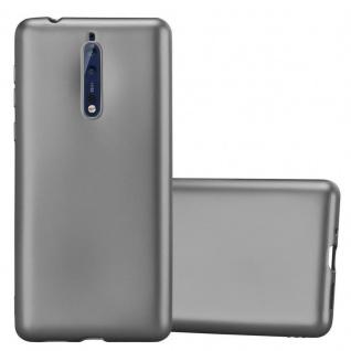 Cadorabo Hülle für Nokia 8 2017 in METALLIC GRAU - Handyhülle aus flexiblem TPU Silikon - Silikonhülle Schutzhülle Ultra Slim Soft Back Cover Case Bumper