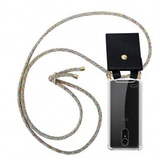 Cadorabo Handy Kette für LG K10 2017 in RAINBOW - Silikon Necklace Umhänge Hülle mit Gold Ringen, Kordel Band Schnur und abnehmbarem Etui ? Schutzhülle