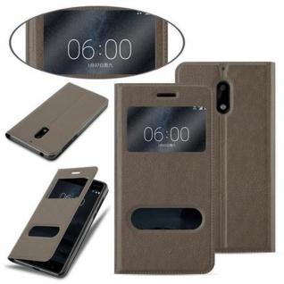 Cadorabo Hülle für Nokia 6 2017 in STEIN BRAUN - Handyhülle mit Magnetverschluss, Standfunktion und 2 Sichtfenstern - Case Cover Schutzhülle Etui Tasche Book Klapp Style - Vorschau 3