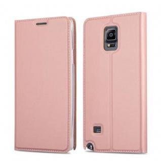 Cadorabo Hülle für Samsung Galaxy NOTE 4 in CLASSY ROSÉ GOLD Handyhülle mit Magnetverschluss, Standfunktion und Kartenfach Case Cover Schutzhülle Etui Tasche Book Klapp Style