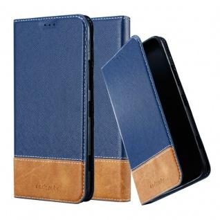 Cadorabo Hülle für Nokia Lumia 1320 in DUNKEL BLAU BRAUN - Handyhülle mit Magnetverschluss, Standfunktion und Kartenfach - Case Cover Schutzhülle Etui Tasche Book Klapp Style