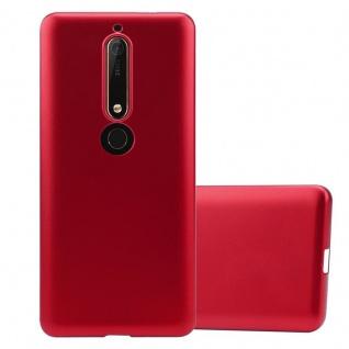 Cadorabo Hülle für Nokia 6.1 2018 in METALLIC ROT - Handyhülle aus flexiblem TPU Silikon - Silikonhülle Schutzhülle Ultra Slim Soft Back Cover Case Bumper