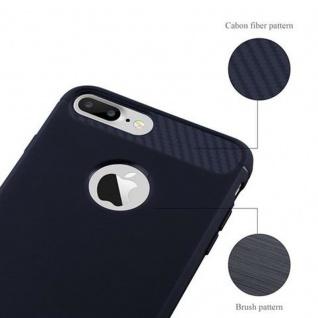 Cadorabo Hülle für Apple iPhone 8 PLUS / iPhone 7 PLUS / iPhone 7S PLUS - Hülle in BRUSHED BLAU - Handyhülle aus TPU Silikon in Edelstahl-Karbonfaser Optik - Silikonhülle Schutzhülle Ultra Slim Soft Back Cover Case Bumper - Vorschau 5