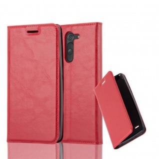 Cadorabo Hülle für LG G3 STYLUS in APFEL ROT Handyhülle mit Magnetverschluss, Standfunktion und Kartenfach Case Cover Schutzhülle Etui Tasche Book Klapp Style