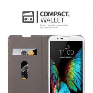 Cadorabo Hülle für LG K10 2016 in HELL GRAU BRAUN - Handyhülle mit Magnetverschluss, Standfunktion und Kartenfach - Case Cover Schutzhülle Etui Tasche Book Klapp Style - Vorschau 4
