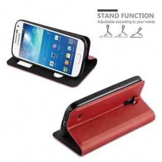 Cadorabo Hülle für Samsung Galaxy S4 MINI in SAFRAN ROT ? Handyhülle mit Magnetverschluss, Standfunktion und 2 Sichtfenstern ? Case Cover Schutzhülle Etui Tasche Book Klapp Style - Vorschau 4
