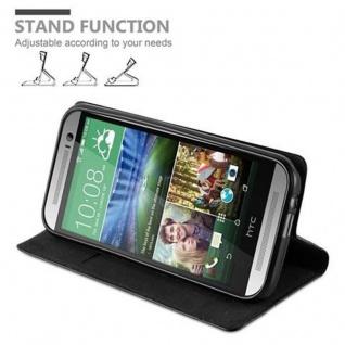 Cadorabo Hülle für HTC One M8 in NACHT SCHWARZ - Handyhülle mit Magnetverschluss, Standfunktion und Kartenfach - Case Cover Schutzhülle Etui Tasche Book Klapp Style - Vorschau 4