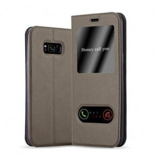 Cadorabo Hülle für Samsung Galaxy S8 in STEIN BRAUN - Handyhülle mit Magnetverschluss, Standfunktion und 2 Sichtfenstern - Case Cover Schutzhülle Etui Tasche Book Klapp Style