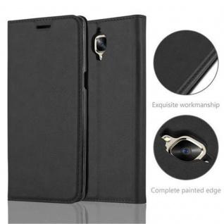 Cadorabo Hülle für OnePlus 3 / 3T in NACHT SCHWARZ - Handyhülle mit Magnetverschluss, Standfunktion und Kartenfach - Case Cover Schutzhülle Etui Tasche Book Klapp Style - Vorschau 2