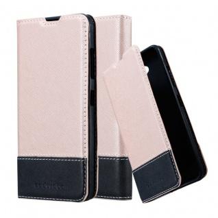 Cadorabo Hülle für Nokia Lumia 650 in ROSÉ GOLD SCHWARZ ? Handyhülle mit Magnetverschluss, Standfunktion und Kartenfach ? Case Cover Schutzhülle Etui Tasche Book Klapp Style
