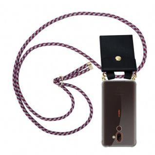 Cadorabo Handy Kette für Nokia 7 PLUS in ROT WEISS Silikon Necklace Umhänge Hülle mit Gold Ringen, Kordel Band Schnur und abnehmbarem Etui Schutzhülle
