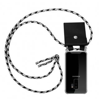 Cadorabo Handy Kette für Samsung Galaxy S9 PLUS in SCHWARZ CAMOUFLAGE Silikon Necklace Umhänge Hülle mit Silber Ringen, Kordel Band Schnur und abnehmbarem Etui Schutzhülle