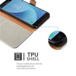 Cadorabo Hülle für Samsung Galaxy J7 2017 in CAPPUCCINO BRAUN ? Handyhülle mit Magnetverschluss, Standfunktion und Kartenfach ? Case Cover Schutzhülle Etui Tasche Book Klapp Style - Vorschau 3