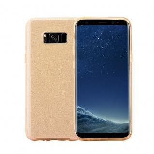 Cadorabo Hülle für Samsung Galaxy S8 - Hülle in STERNENSTAUB GOLD ? TPU Silikon und Hardcase Handyhülle im Glitzer Design - Hard Case TPU Silikon Schutzhülle