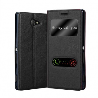 Cadorabo Hülle für Sony Xperia M2 / M2 Aqua in KOMETEN SCHWARZ - Handyhülle mit Magnetverschluss, Standfunktion und 2 Sichtfenstern - Case Cover Schutzhülle Etui Tasche Book Klapp Style