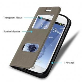 Cadorabo Hülle für Samsung Galaxy S3 MINI in STEIN BRAUN - Handyhülle mit Magnetverschluss, Standfunktion und 2 Sichtfenstern - Case Cover Schutzhülle Etui Tasche Book Klapp Style - Vorschau 3