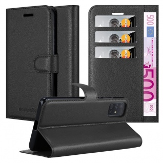 Cadorabo Hülle für Samsung Galaxy A71 in PHANTOM SCHWARZ Handyhülle mit Magnetverschluss, Standfunktion und Kartenfach Case Cover Schutzhülle Etui Tasche Book Klapp Style