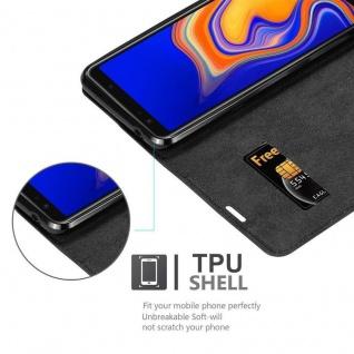 Cadorabo Hülle für Samsung Galaxy A6S in NACHT SCHWARZ - Handyhülle mit Magnetverschluss, Standfunktion und Kartenfach - Case Cover Schutzhülle Etui Tasche Book Klapp Style - Vorschau 2