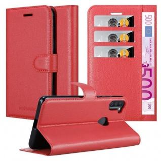 Cadorabo Hülle für Samsung Galaxy A11 in KARMIN ROT Handyhülle mit Magnetverschluss, Standfunktion und Kartenfach Case Cover Schutzhülle Etui Tasche Book Klapp Style