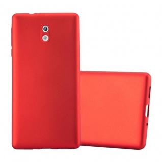 Cadorabo Hülle für Nokia 3 2017 in METALLIC ROT - Handyhülle aus flexiblem TPU Silikon - Silikonhülle Schutzhülle Ultra Slim Soft Back Cover Case Bumper