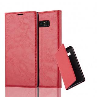 Cadorabo Hülle für Samsung Galaxy NOTE 8 in APFEL ROT Handyhülle mit Magnetverschluss, Standfunktion und Kartenfach Case Cover Schutzhülle Etui Tasche Book Klapp Style