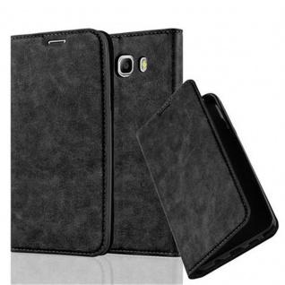 Cadorabo Hülle für Samsung Galaxy J7 2016 in NACHT SCHWARZ - Handyhülle mit Magnetverschluss, Standfunktion und Kartenfach - Case Cover Schutzhülle Etui Tasche Book Klapp Style