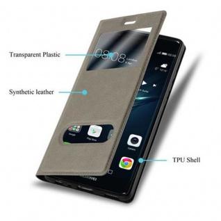 Cadorabo Hülle für Huawei P9 in STEIN BRAUN - Handyhülle mit Magnetverschluss, Standfunktion und 2 Sichtfenstern - Case Cover Schutzhülle Etui Tasche Book Klapp Style - Vorschau 3