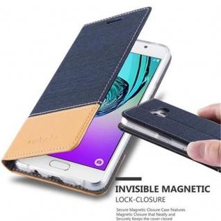 Cadorabo Hülle für Samsung Galaxy A5 2016 in DUNKEL BLAU BRAUN - Handyhülle mit Magnetverschluss, Standfunktion und Kartenfach - Case Cover Schutzhülle Etui Tasche Book Klapp Style