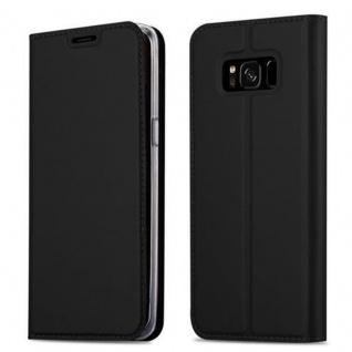 Cadorabo Hülle für Samsung Galaxy S8 PLUS in CLASSY SCHWARZ - Handyhülle mit Magnetverschluss, Standfunktion und Kartenfach - Case Cover Schutzhülle Etui Tasche Book Klapp Style