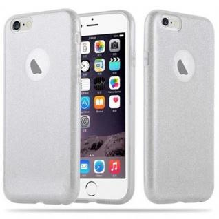 Cadorabo Hülle für Apple iPhone 6 / iPhone 6S - Hülle in STERNENSTAUB SILBER - TPU Silikon und Hardcase Handyhülle im Glitzer Design - Hard Case TPU Silikon Schutzhülle