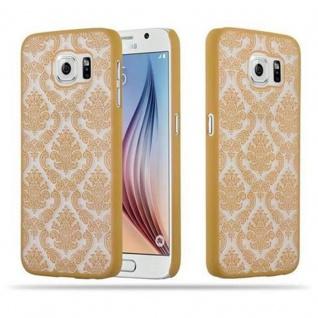 Samsung Galaxy S6 (NICHT für EDGE) Hardcase Hülle in GOLD von Cadorabo - Blumen Paisley Henna Design Schutzhülle ? Handyhülle Bumper Back Case Cover