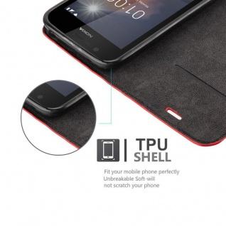 Cadorabo Hülle für Nokia 1 2017 in APFEL ROT - Handyhülle mit Magnetverschluss, Standfunktion und Kartenfach - Case Cover Schutzhülle Etui Tasche Book Klapp Style - Vorschau 2